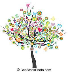 kwiaty, koło, drzewo, motyle, formułować, liście, barwny