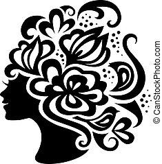 kwiaty, kobieta, sylwetka, piękny