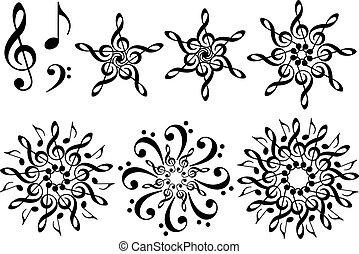 kwiaty, komplet, muzyka, wektor