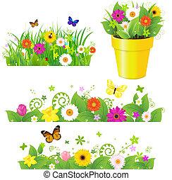 kwiaty, komplet, trawa, zielony