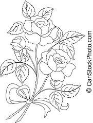 kwiaty, kontur, róża