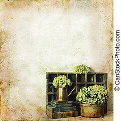 kwiaty, książki, grunge, tło