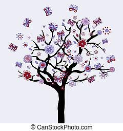 kwiaty, kwiatowy, motyle, abstrakcyjny, drzewo