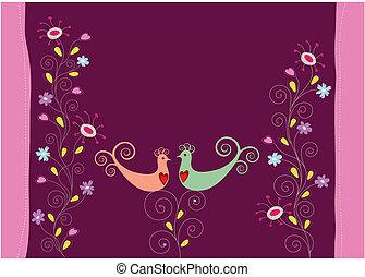 kwiaty, miłość ptaszki