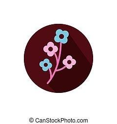 kwiaty, projektować, wektor, odizolowany, ozdoba
