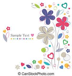 kwiaty, serca, karta, powitanie