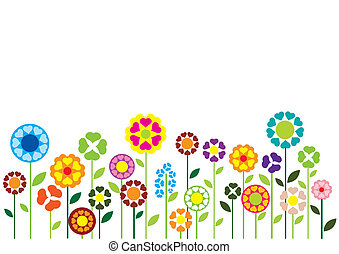 kwiaty, serca, wektor