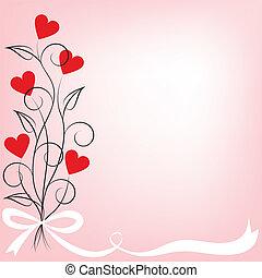 kwiaty, serce, bukiet, mający kształt