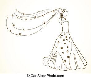 kwiaty, strój, welon, ślub