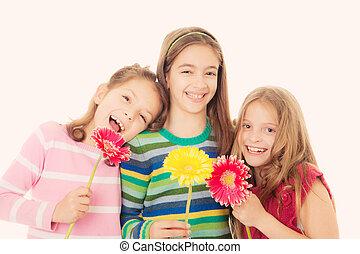 kwiaty, szczęśliwy, dzieci