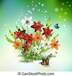 kwiaty, trawa