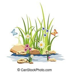 kwiaty, trawa, zielony, skała