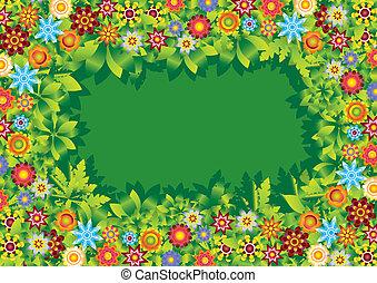 kwiaty, ułożyć, wektor, ogród