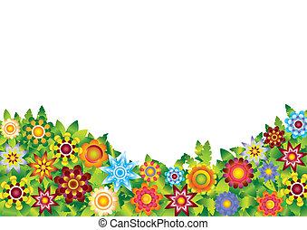kwiaty, wektor, ogród
