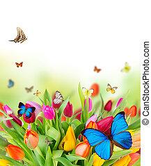 kwiaty, wiosna, motyle, piękny