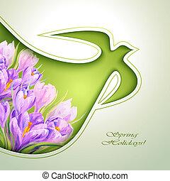 kwiaty, wiosna, zaproszenie, szablon