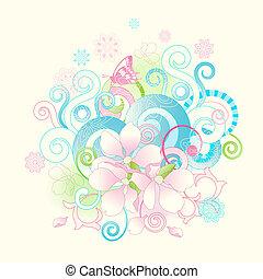 kwiaty, zakrętasy, wiosna, abstrakcyjny