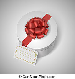 lable, wstążka, klasyk, łuk, giftbox, czysty, czerwony