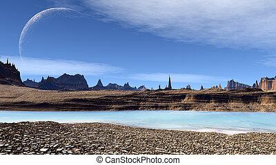 lake., planet., trzęsie się, 3d, cudzoziemiec, ilustracja, kaprys