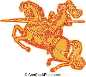 lanca, pełny, akwaforta, zbroja, rycerz, grzbiet koński