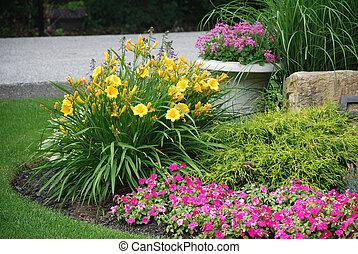 landscaped, kwiat ogród