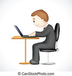 laptop, 3d, pracujący, człowiek