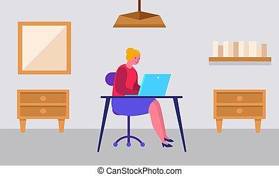 laptop, dom pracujący, dziewczyna