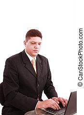 laptop, handlowe biuro, człowiek