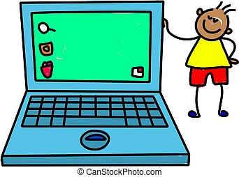 laptop, koźlę