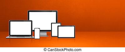 laptop, komputer, chorągiew, pomarańczowa pastylka, telefon, ruchomy, cyfrowy, pc.