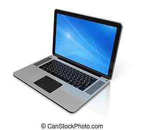 laptop komputer, odizolowany, biały