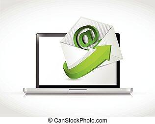 laptop, na, kontakt, projektować, ilustracja, email