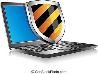 laptop, notatnik, tarcza
