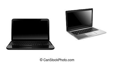 laptop, nowoczesny, odizolowany