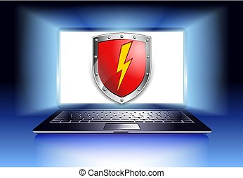 laptop, ochrona, komputer, tarcza, bezpieczeństwo