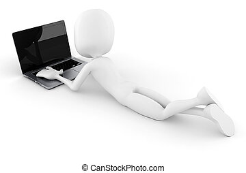 laptop, odizolowany, tło, biały, 3d, człowiek