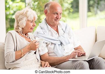 laptop, para, senior