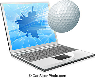 laptop, pojęcie, golf, ekran, piłka