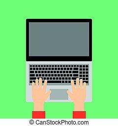 laptop, siła robocza, keyboard., pisząc na maszynie