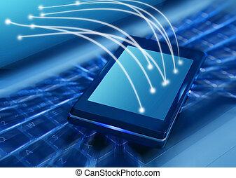 laptop, smartphone, klawiatura