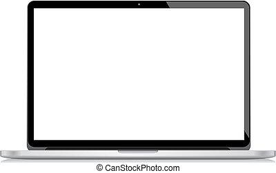 laptop, wektor, odizolowany, biały bac