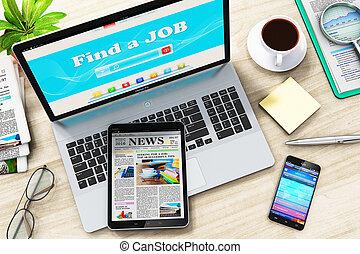 laptop, znaleźć, praca, internet, szukać, albo