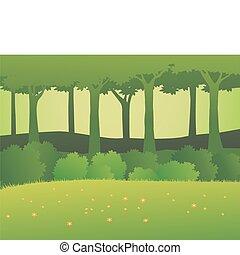 las, tło