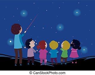 laser, dzieciaki, stickman, gwiazda, kropka, nauczyciel