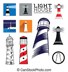 latarnia morska, komplet, ikona