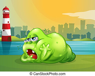 latarnia morska, zielony potwór, tłuszcz, wszerz
