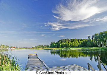 lato, żywy, niebo, jezioro, spokój, pod