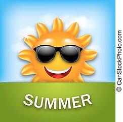 lato, chłodny, sunglasses, szczęśliwy, słońce