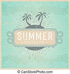 lato, chmury, rocznik wina, ilustracja, ferie, papier, tło, afisz, template., stary, texture., rays.
