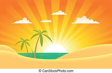 lato, chorągiew, krajobraz, ocean